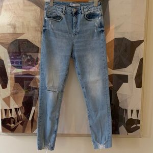 Zara high rise straight leg jeans distressed light